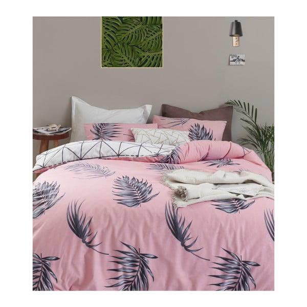 Lenjerie de pat cu cearșaf din bumbac ranforce, pentru pat dublu Mijolnir Barbara Pink, 160 x 220 cm