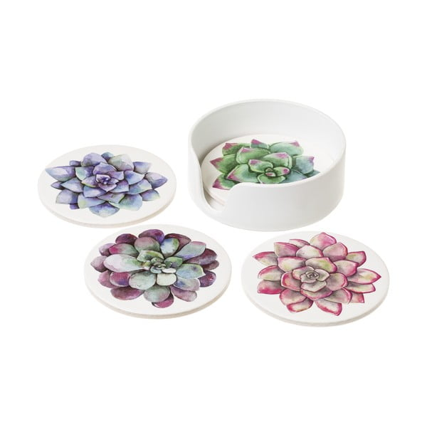 Set 4 suporturi din ceramică pentru pahar Unimasa Suculent