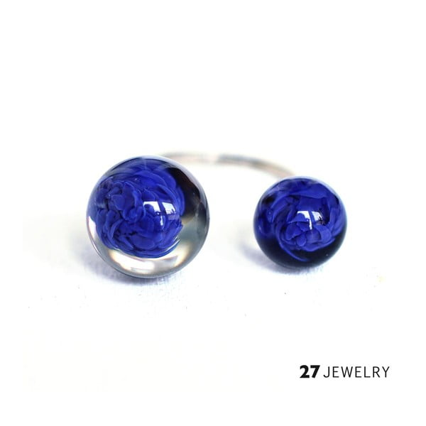 Tmavě modrý dvojitý prsten ze skla Enamor