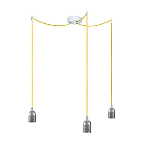 Tři závěsné kabely Uno, stříbrná/žlutá/bílá