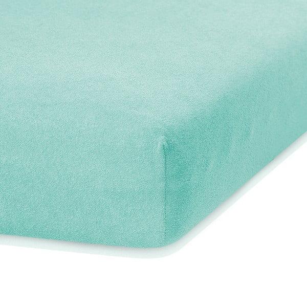 Mátově zelené elastické prostěradlo s vysokým podílem bavlny AmeliaHome Ruby, 200 x 80-90 cm