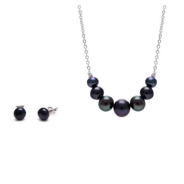 Sada náhrdelníku a náušnic z říčních perel Chain, černá