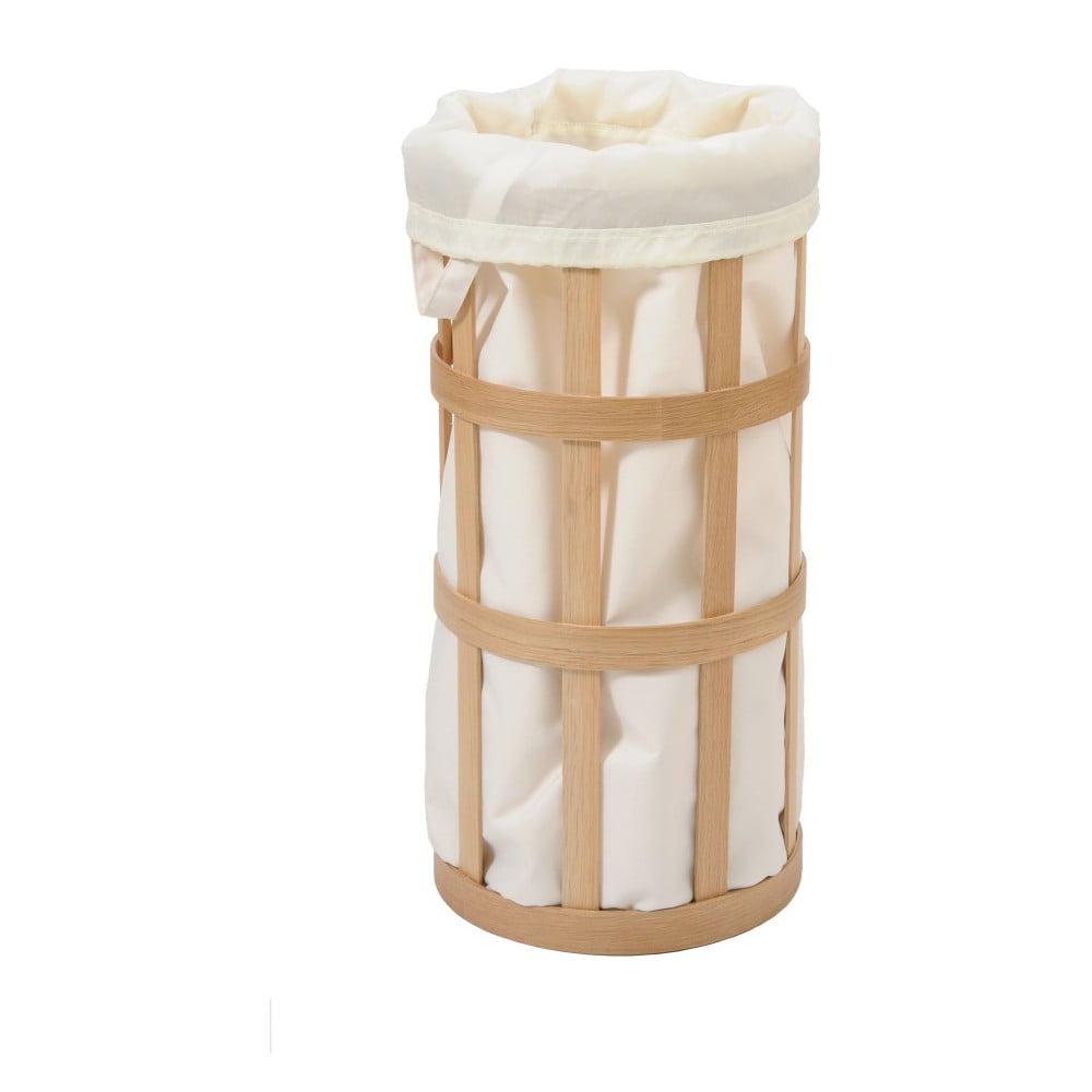 Světlý dřevěný koš na prádlo s bílým vakem Wireworks Cage