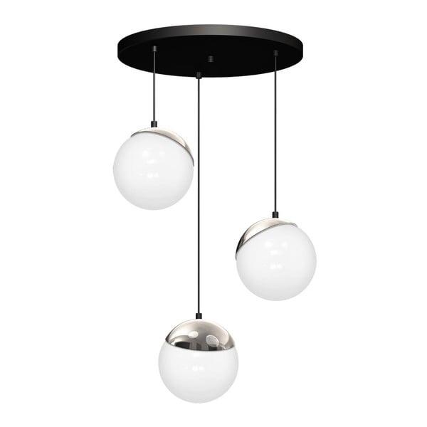 Lustră cu detalii argintii Sphere Tres, negru