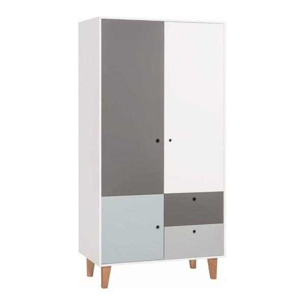 Concept fehér-szürke kétajtós ruhásszekrény kék elemmel - Vox