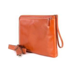 Oranžová taška s popruhem na ruku z italské kůže Tucano Elle