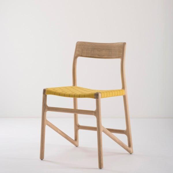 Jídelní židle z masivního dubového dřeva se žlutým sedákem Gazzda Fawn