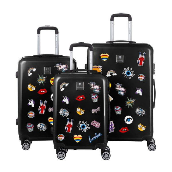 Sada 3černých cestovních kufrů se sadou nálepek Berenice Stickers