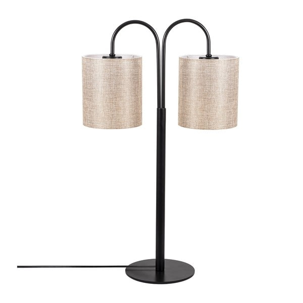 Sifi fekete fém asztali lámpa krémszínű búrával - Opviq lights