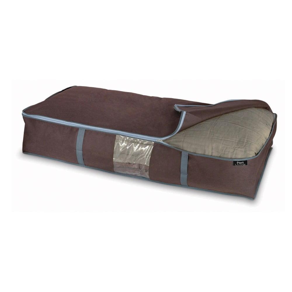 Hnědý úložný box na peřiny Domopak Living, 18 x 45 cm