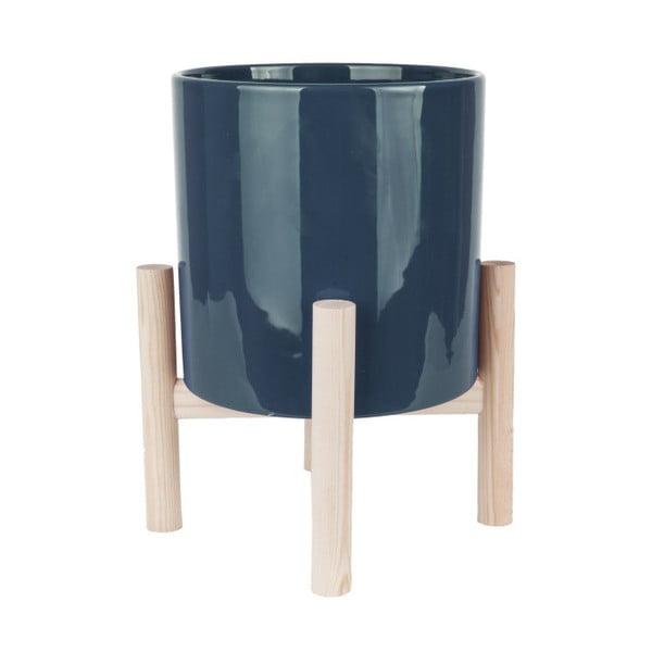 Ghiveci din ceramică pe suport din lemn de pin PT LIVING Trestle, albastru
