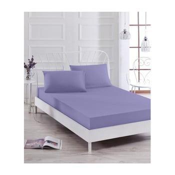 Set cearșaf elastic violet și 2 fețe de pernă Basso Purple, 160 x 200 cm de la EnLora Home