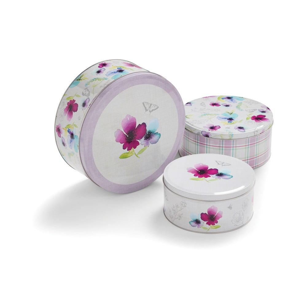 Sada 3 cínových úložných boxů na dezerty Cooksmart England Chatsworth Floral