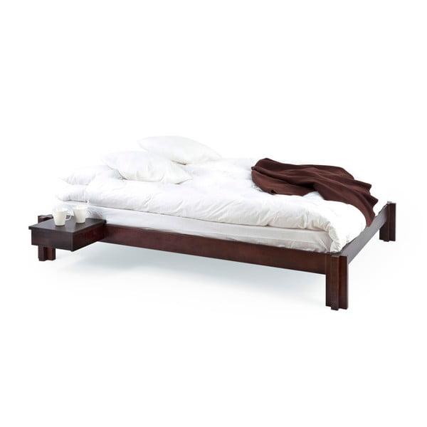 Tmavě hnědá ručně vyráběná postel z masivního březového dřeva Kiteen Mori, 160x200cm