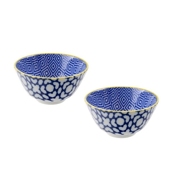 Sada 2 porcelánových misek Geometric Blue