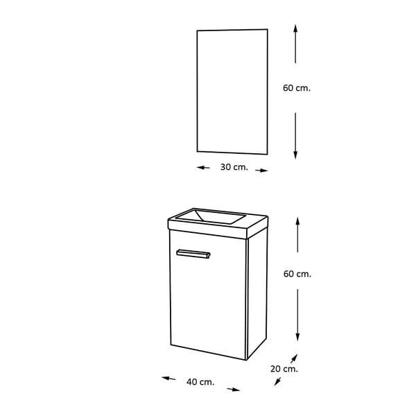 Koupelnová skříňka s umyvadlem a zrcadlem Kai, odstín šedé, 40 cm