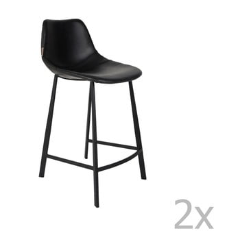 Set 2 scaune bar Dutchbone Franky, înălțime 91 cm, negru de la Dutchbone