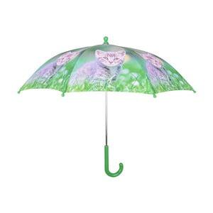Zelený deštník s potiskem koťátka Esschert Design Animals