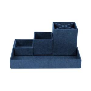 Tmavě modrý 4dílný stolní organizér Bigso