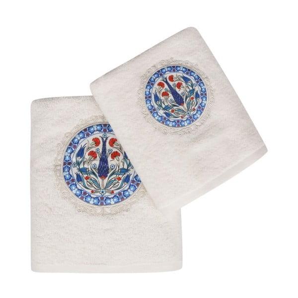 Set bílého ručníku a bílé osušky s barevným detailem Bleuet