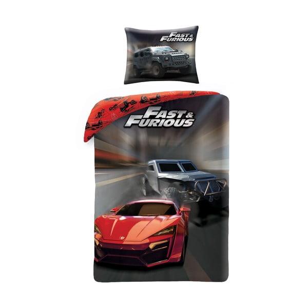 Lenjerie de pat din bumbac pentru copii Halantex Fast & Furious, 140 x 200 cm, negru