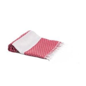 Červená ručně tkaná osuška Ivy's Aysu, 95x180cm