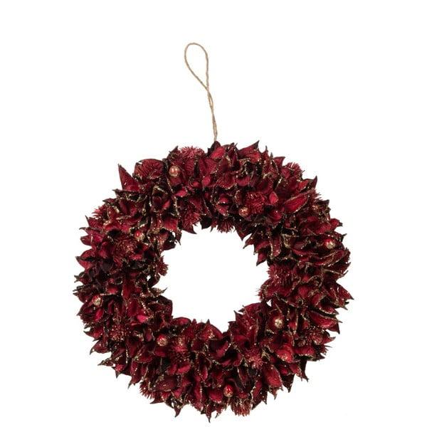 Czerwony wieniec świąteczny J-Line Leaf, ø 28 cm