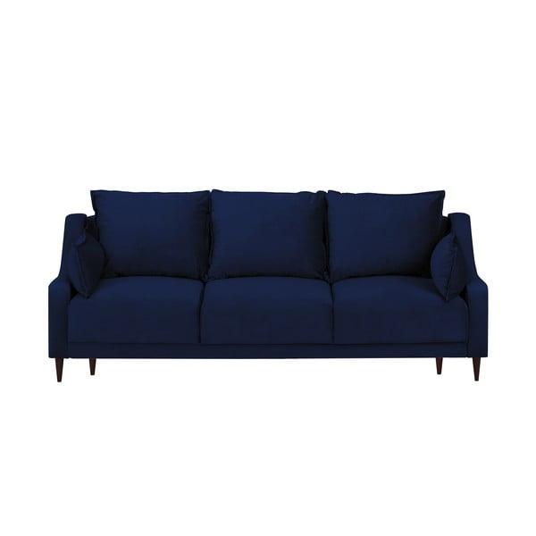 Modrá sametová rozkládací pohovka s úložným prostorem Mazzini Sofas Freesia, 215 cm
