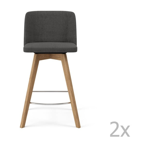 Sada 2 sivých barových stoličiek Tenzo Tom, výška 89 cm