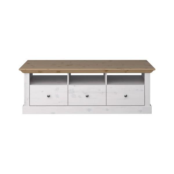 Biała szafka pod TV z drewna sosnowego z brązowym blatem Steens Monaco Provance