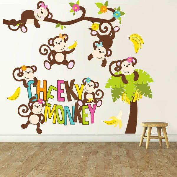 Samolepka na zeď Cheeky Monkey, 90x60 cm