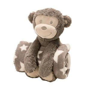 Plyšová opička s dětskou dekou, 75x100 cm