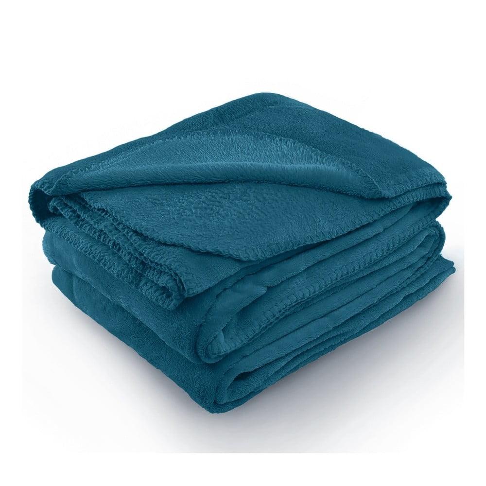 Indigově modrá deka z mikrovlákna AmeliaHome Tyler, 170 x 200 cm