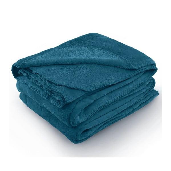 Pătură din microfibră AmeliaHome Tyler, 170 x 200 cm, albastru indigo