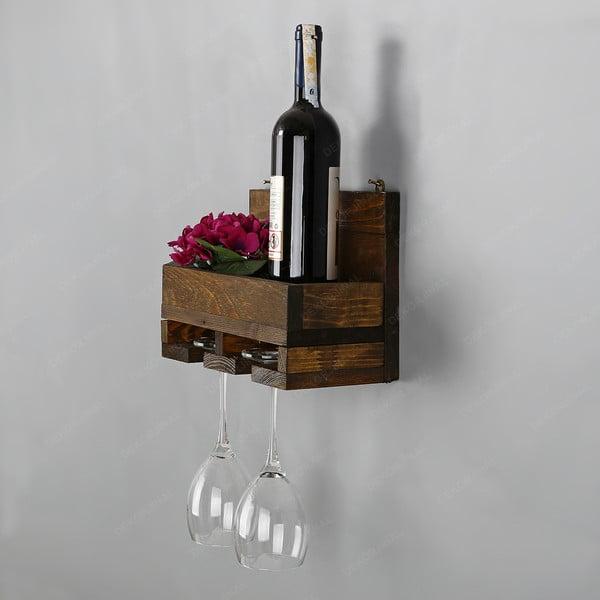 Ručně vyrobený nástěnný držák z masivního dřeva na víno skleničky Catalin Regina, 30x20x14cm