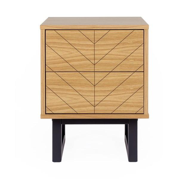 Nočný stolík v dubovom dekore Woodman Mora Herringbone Print
