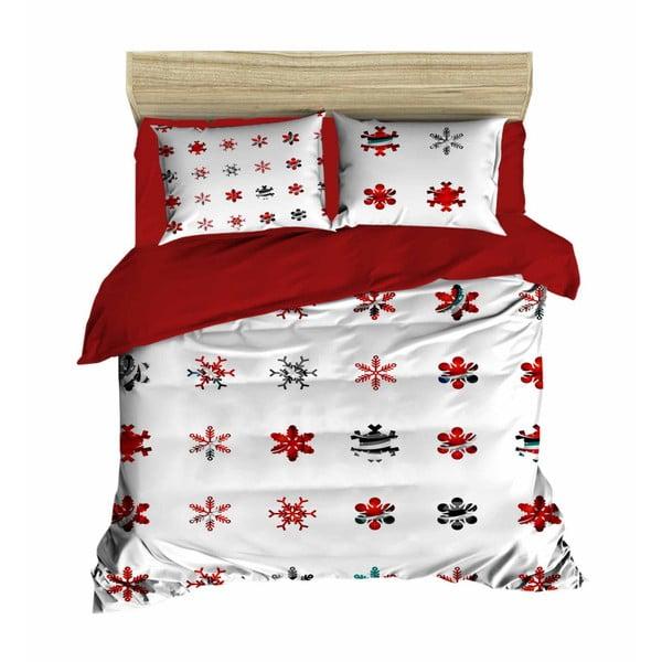 Sada obliečky a plachty na dvojposteľ Christmas Snowlakes Red, 200×220 cm