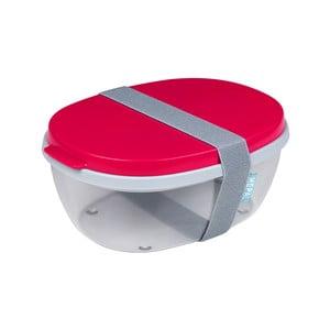 Červený dvojitý box na salát Rosti Mepal Ellipse, 1,3l
