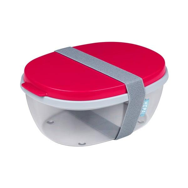 Červený dvojitý box na salát Rosti Mepal Ellipse, 1,3 l