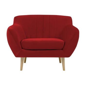 Fotoliu cu picioare de culoare deschisă Mazzini Sofas Sardaigne, roșu