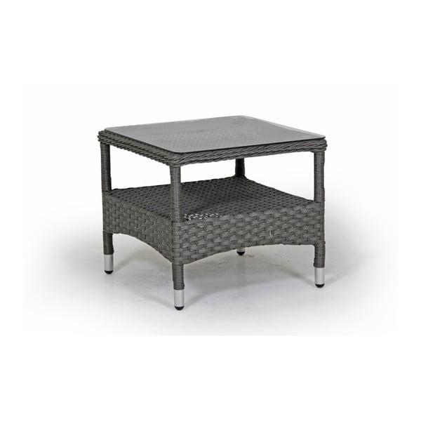 Šedý zahradní stolek se skleněnou deskou Brafab Colby, 51x51cm