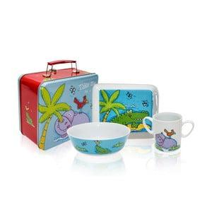 Dětský snídaňový set v kufříku Silly Design Hippo