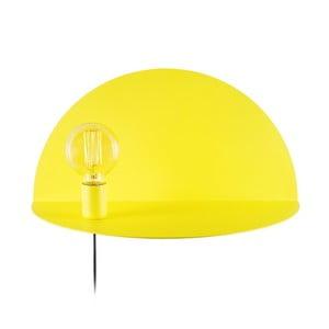 Žlutá nástěnná lampa s poličkou Shelfie, výška 25 cm