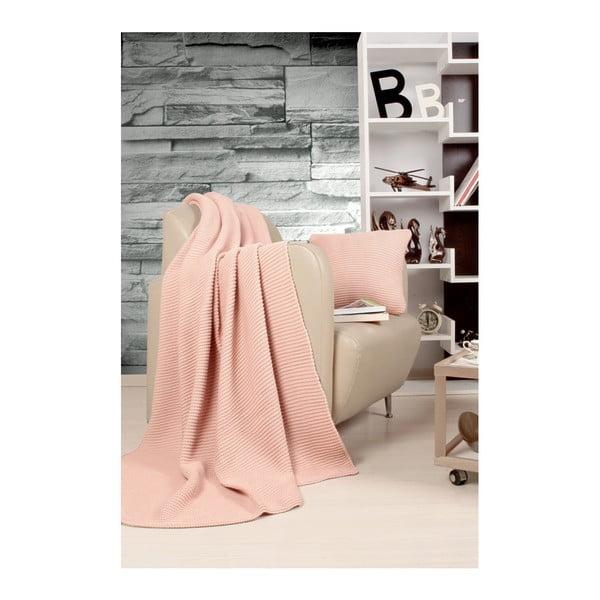 Set pătură și pernă Kate Louise Tricot Hanzade, roz deschis