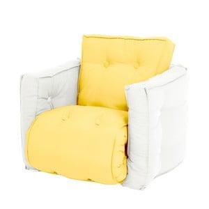 Žluté dětské rozkládací křesílko s přírodní konstrukcí Karup Mini Dice