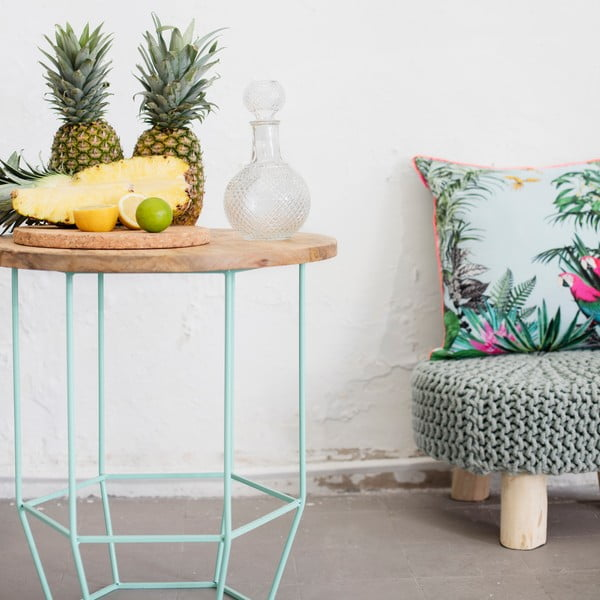 Mentolově zelený stolek se snímatelnou deskou z mangového dřeva HF Living Hexa Mint