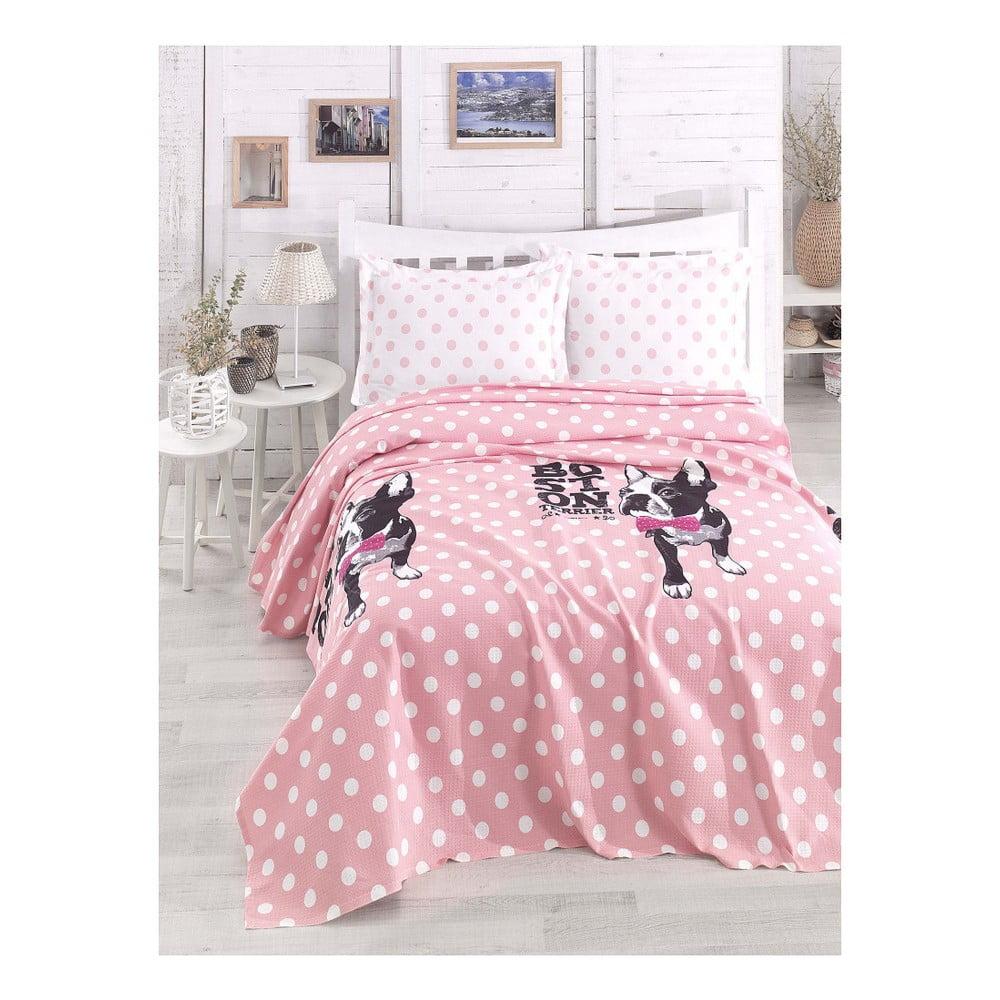 Lehký přehoz přes postel Boston Pink, 200 x 235 cm