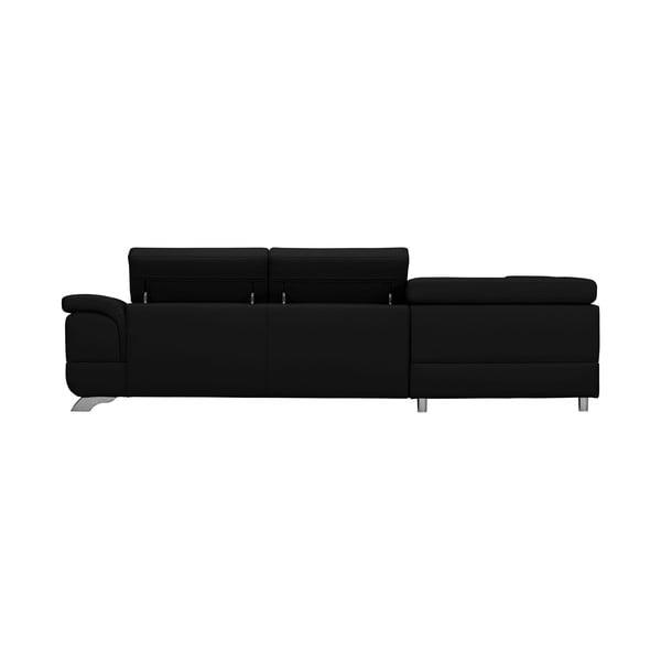 Černá kožená rozkládací rohová pohovka Windsor & Co Sofas Gamma, levý roh