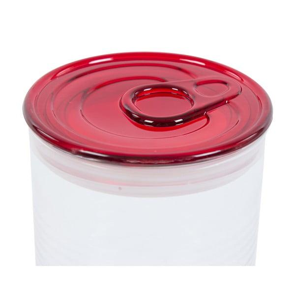 Skleněná dóza s červeným víkem Kaleidos Can, 10,5x16cm
