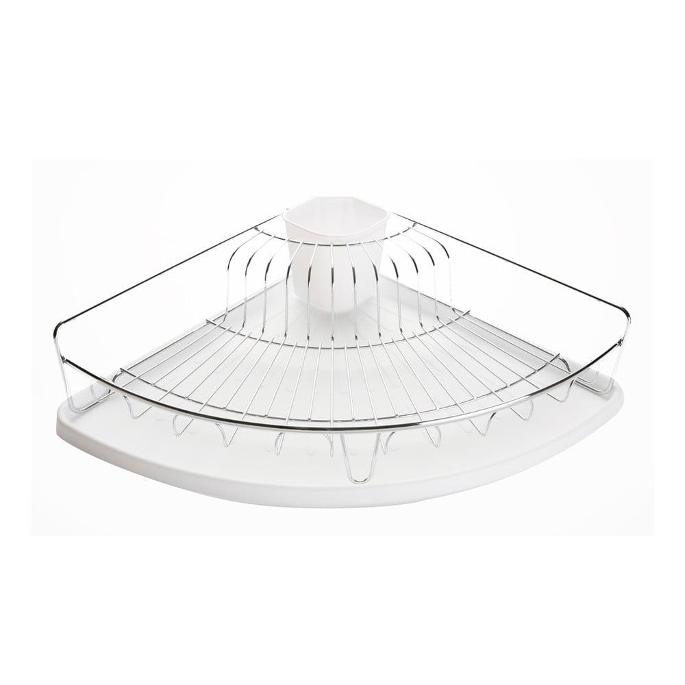 Bílý rohový odkapávač na nádobí Versa Plate Rack White